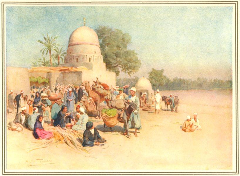 Associate Product EGYPT. Cross desert journey to Al-Qusair. A Market edge of 1912 old print