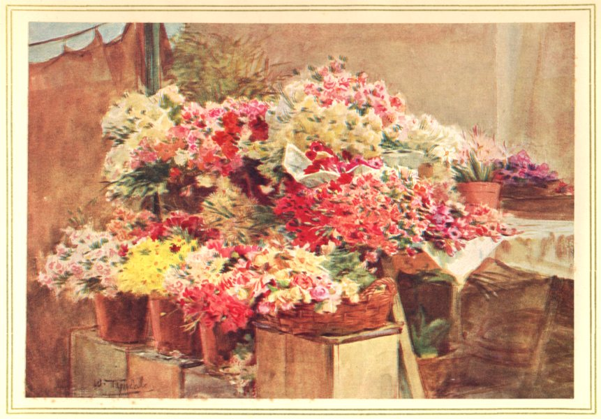 Associate Product FRANCE. Menton and Monte Carlo. Flower Stall in Menton Market 1912 old print
