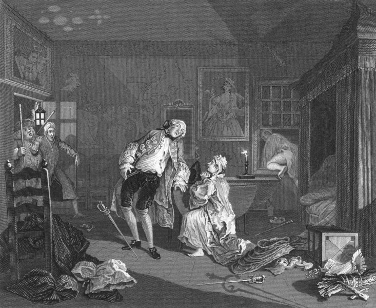 Associate Product MARRIAGE A-LA-MODE. DEATH OF THE EARL. Hogarth 1835 old antique print picture