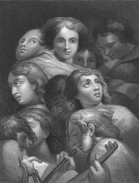 Associate Product A STUDY OF HEADS. Antonio da Correggio 1835 old antique vintage print picture
