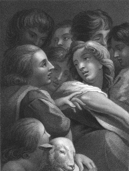 Associate Product A STUDY OF HEADS.  Antonio da Correggio (2)  1835 old antique print picture