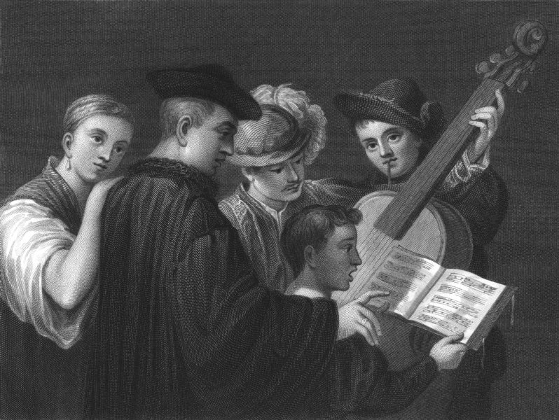 Associate Product A MUSIC PARTY. Titian (Titian)  1835 old antique vintage print picture