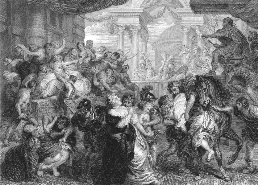 Associate Product THE RAPE OF THE SABINES. Sir Peter Paul Rubens 1835 old antique print picture