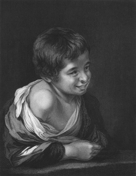SPANISH PEASANT BOY. Murillo 1835 old antique vintage print picture