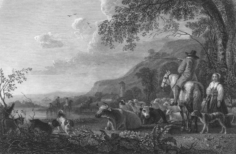 Associate Product LANDSCAPE AND CATTLE. Cuyp 1835 old antique vintage print picture