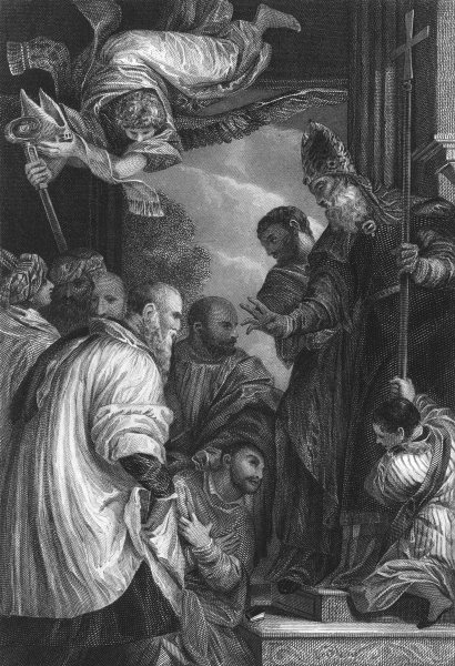 Associate Product THE CONSECRATION OF ST NICHOLAS. Paul Veronese 1835 old antique print picture