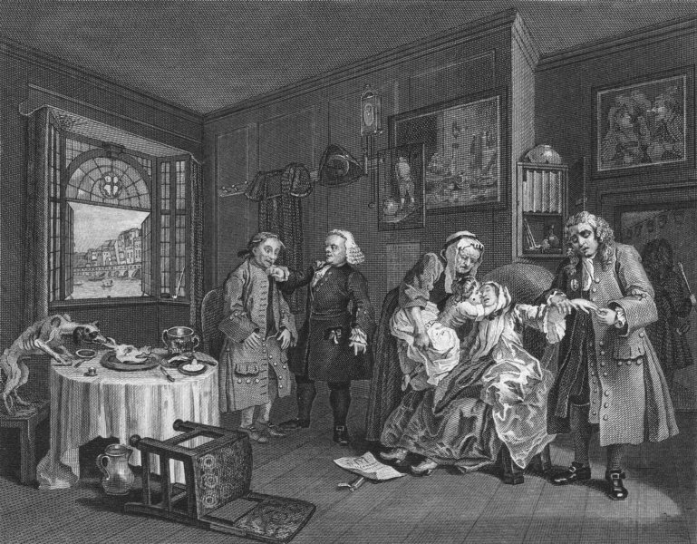 Associate Product MARRIAGE A LA MODE. Death of the countess. Hogarth 1835 old antique print