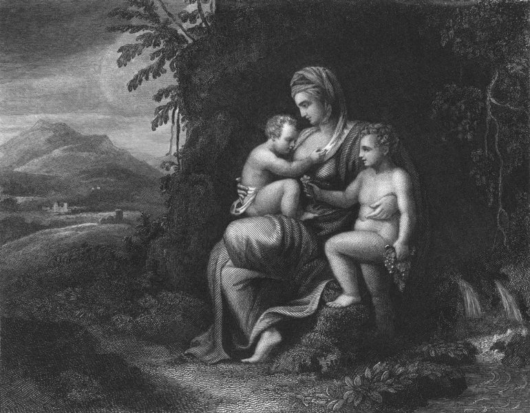 CHARITY. Julio Romano 1835 old antique vintage print picture