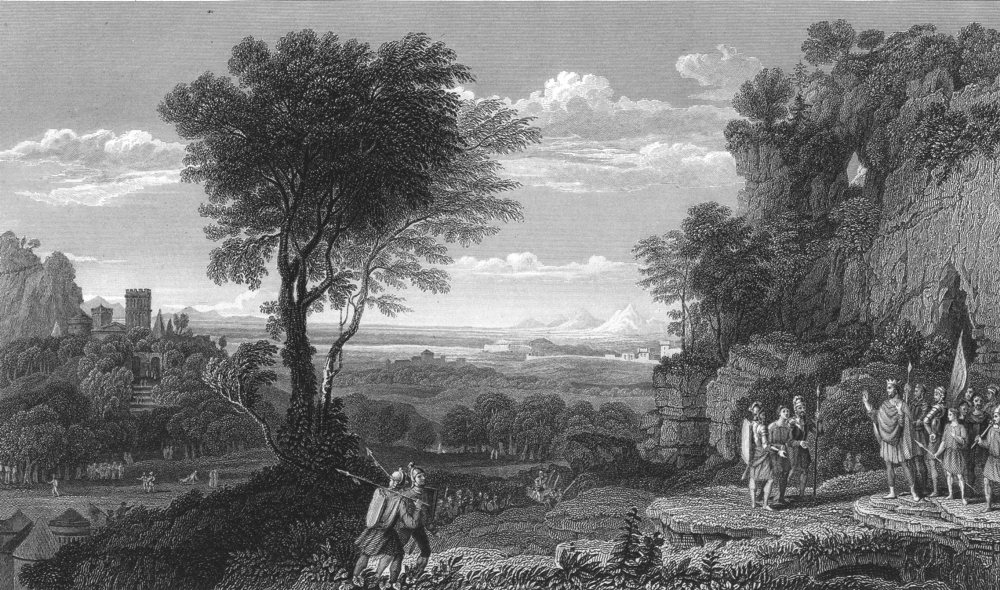Associate Product LANDSCAPE WITH SINON BROUGHT PRISONER TO PRIAM. Claude Lorraine 1835 old print