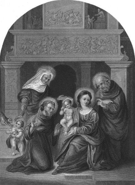Associate Product HOLY FAMILY. With St Francis, Elizabeth & John. Mazzolini da Ferrara 1835