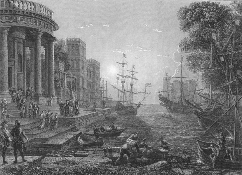 Associate Product A SEA PORT AT SUN. SET. with the Embarkation of St Ursula. Claude Lorraine 1835