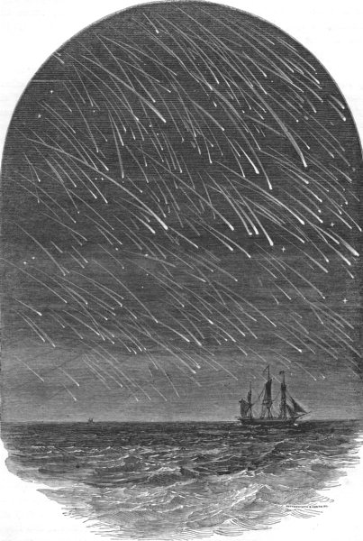 Associate Product FLORIDA. Meteoric shower, as seen off Cape Florida 1869 old antique print