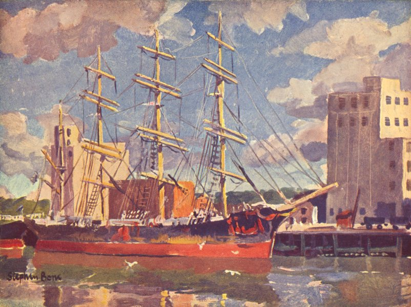 LONDON. Down the River. Unloading Australian Wheat 1939 old vintage print