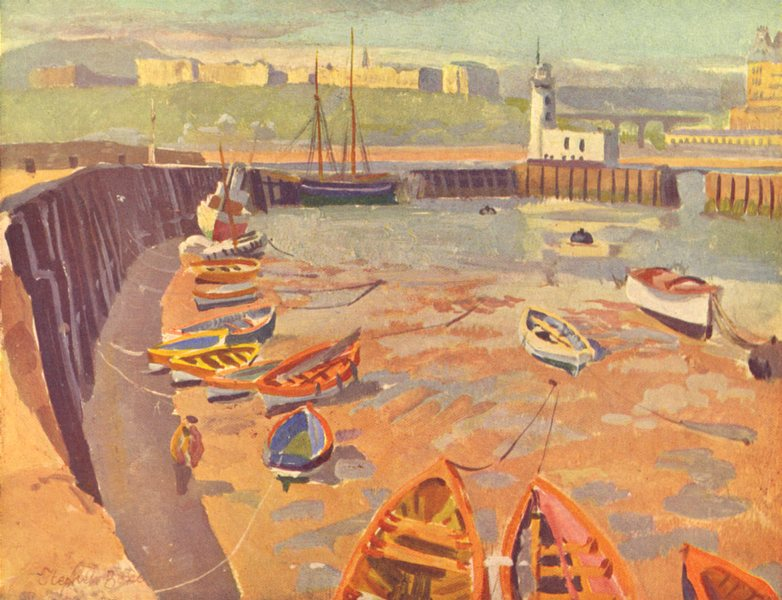 Associate Product YORKSHIRE. Shores and Islands. Low tide, Scarborough 1939 old vintage print