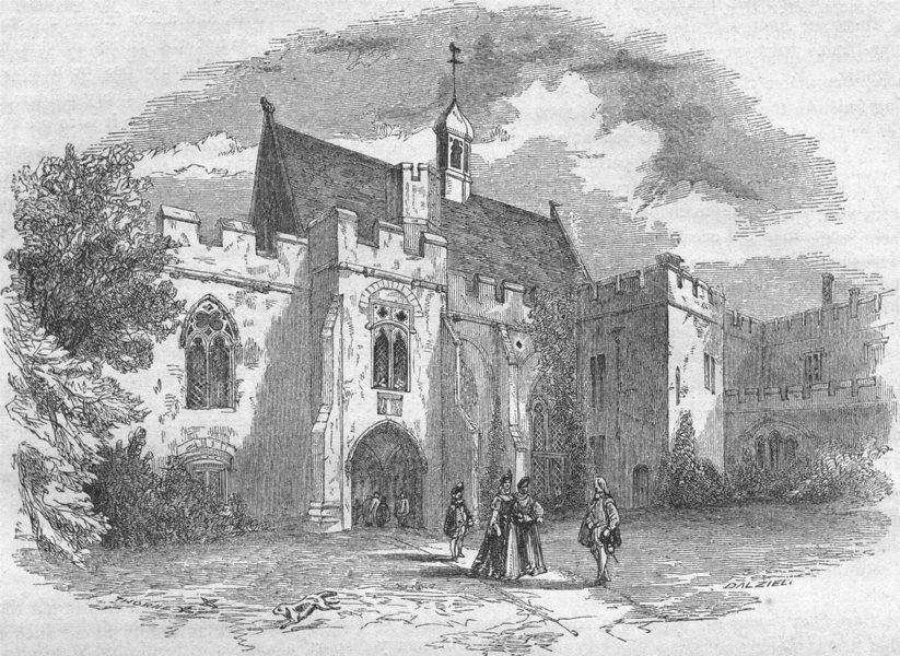 Associate Product KENT. First Court-yard, Penshurst 1850 old antique vintage print picture