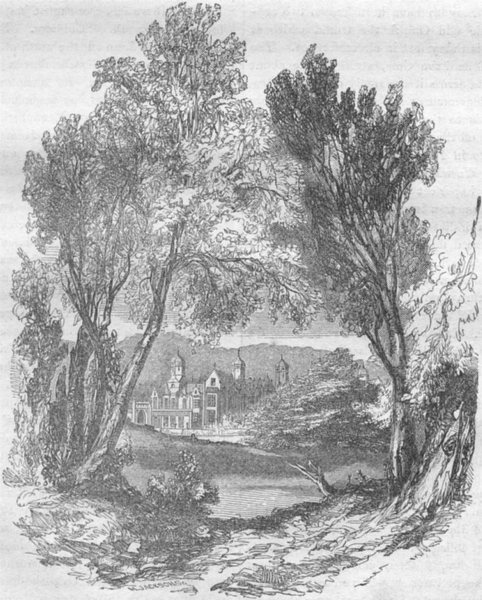 Associate Product KENT. Cobham Hall 1850 old antique vintage print picture