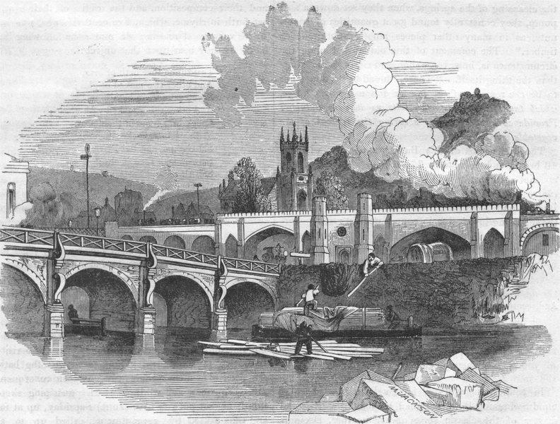 Associate Product SOMERSET. Bath. Bridge and Railway 1850 old antique vintage print picture