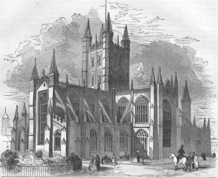 Associate Product SOMERSET. Bath Abbey 1850 old antique vintage print picture