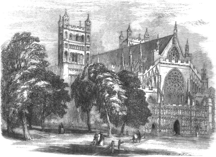 Associate Product DEVON. Exeter Cathedral 1850 old antique vintage print picture