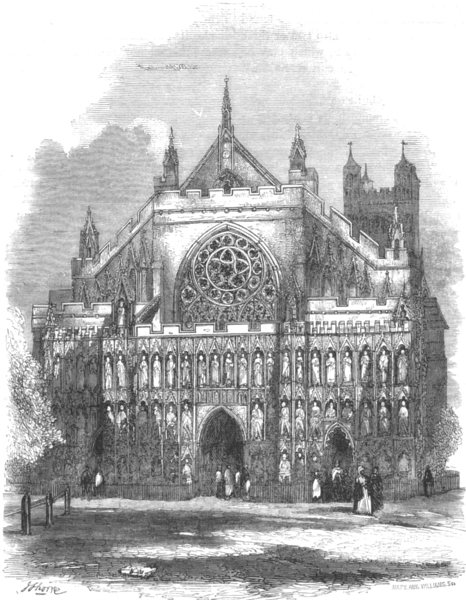 Associate Product DEVON. West front of Exeter Cathedral 1850 old antique vintage print picture