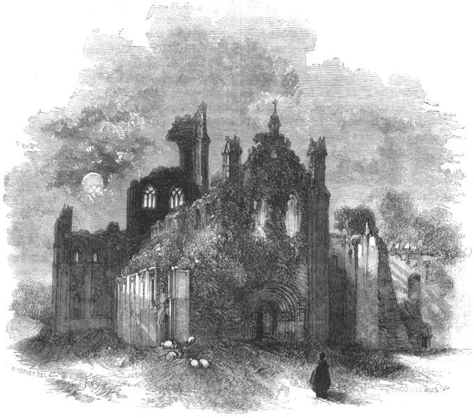 YORKSHIRE. Leeds. Kirkstall Abbey 1850 old antique vintage print picture