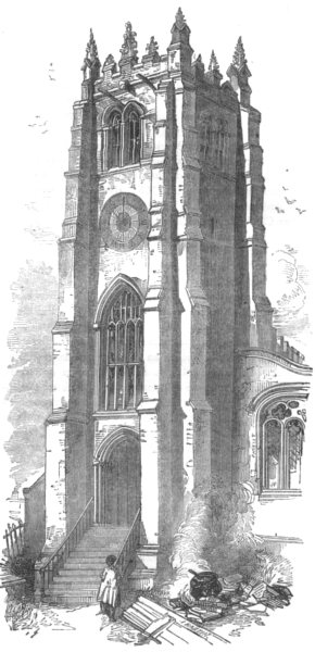 Associate Product YORKSHIRE. Tower of the Old Church, Bradford 1850 antique print picture