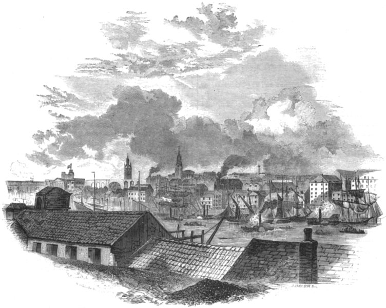 Associate Product NORTHUMBERLAND. Newcastle. Newcastle, from Hilgate 1850 old antique print