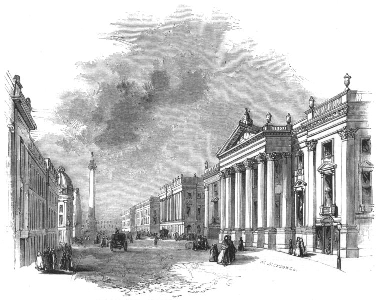 Associate Product NORTHUMBERLAND. Newcastle. Grey Street 1850 old antique vintage print picture