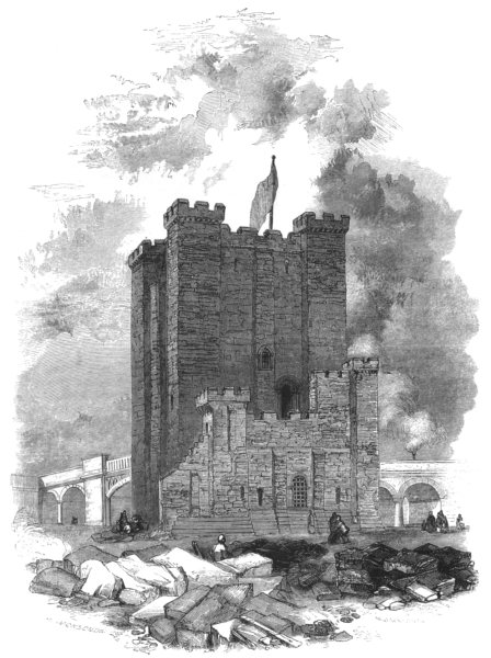 Associate Product NORTHUMBERLAND. Newcastle. The Castle 1850 old antique vintage print picture