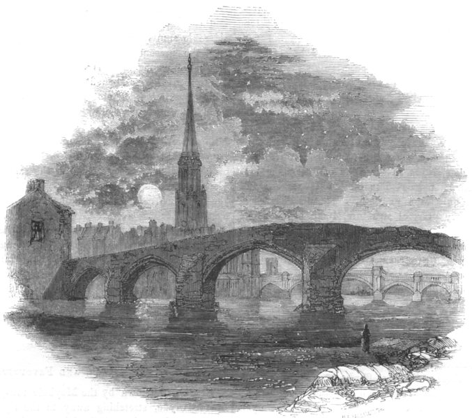 Associate Product SCOTLAND. Ayrshire. Brigs of Ayr 1850 old antique vintage print picture