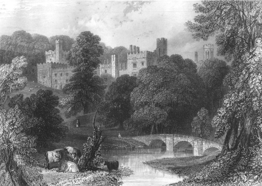 Associate Product DERBYSHIRE. Haddon Hall 1850 old antique vintage print picture