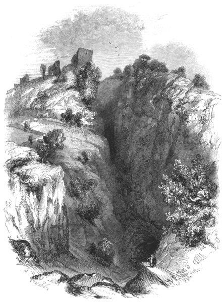 Associate Product DERBYSHIRE. Entrance to the Peak Cavern 1850 old antique vintage print picture