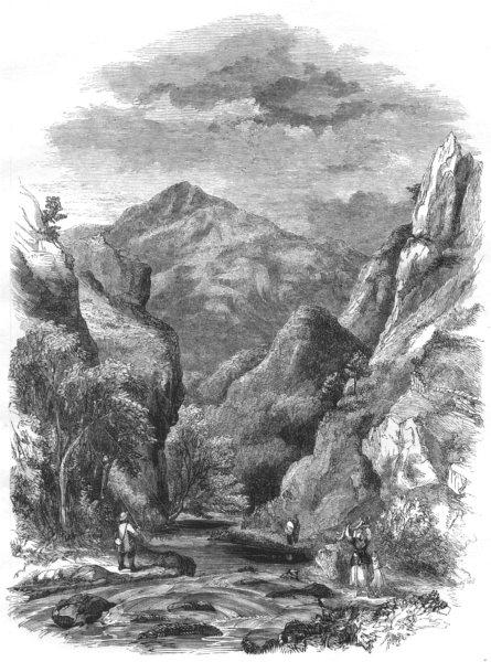 DERBYSHIRE. Dove Dale 1850 old antique vintage print picture