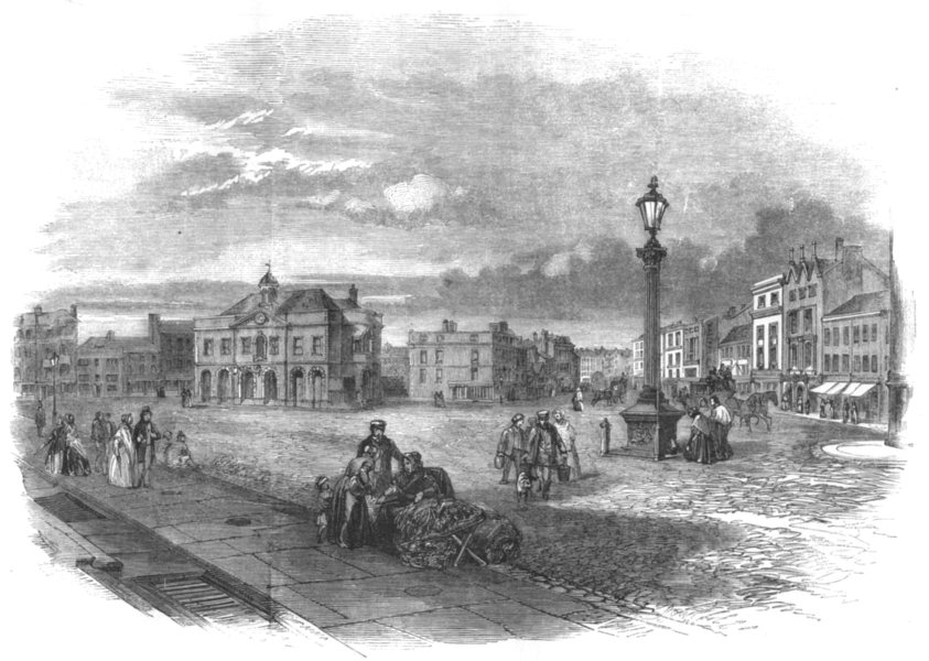 Associate Product LEICESTERSHIRE. Market-Place and Exchange, Leicester 1850 old antique print
