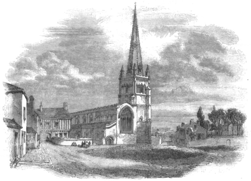 Associate Product LEICESTERSHIRE. St Mary's Church, Leicester 1850 old antique print picture