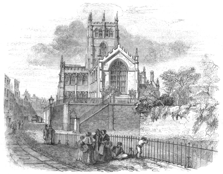 Associate Product NOTTINGHAMSHIRE. St Mary's Church, Nottingham 1850 old antique print picture