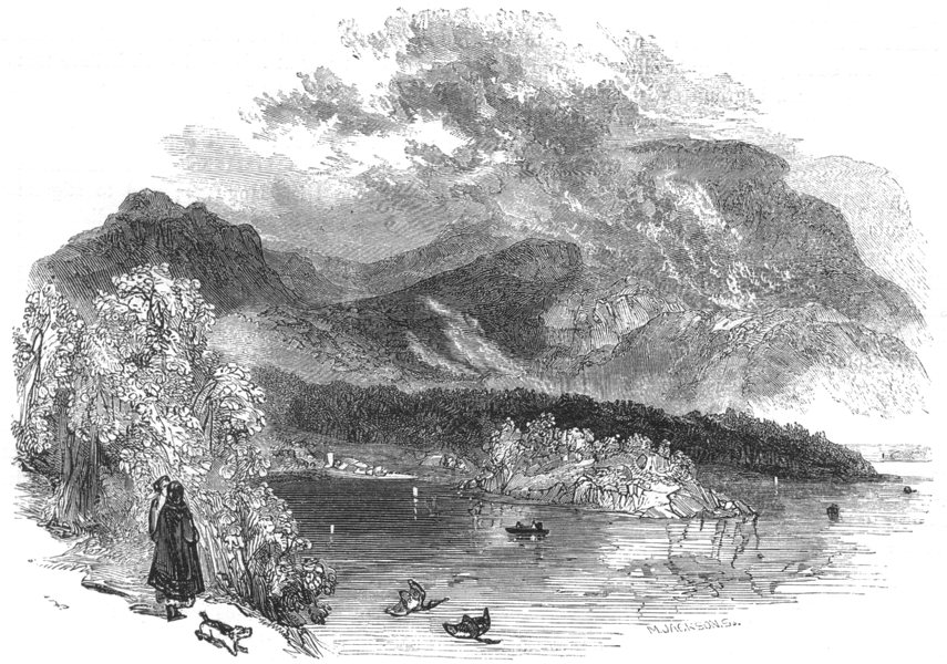 Associate Product IRELAND. The Lakes of Killarney. Torc Lake 1850 old antique print picture