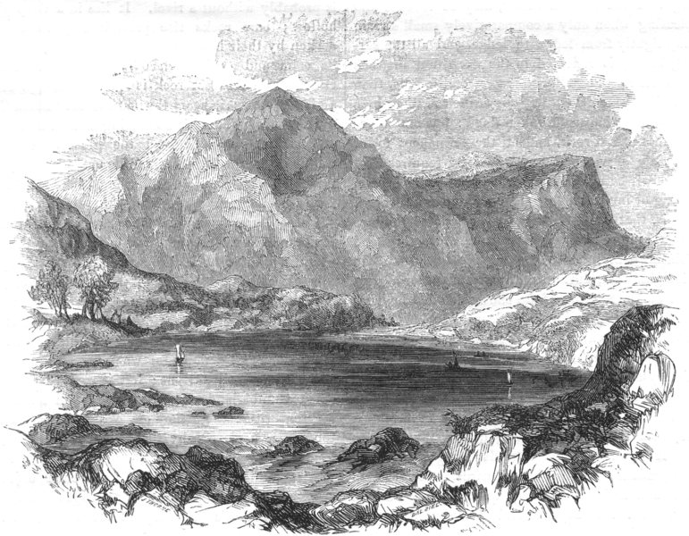 Associate Product WALES. North Wales. Llyn Ogwen 1850 old antique vintage print picture