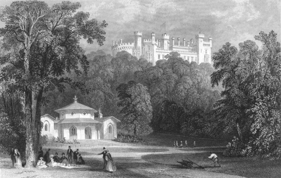 Associate Product LEICESTERSHIRE. Belvoir Castle, from the Dairy (Allom)  1832 old antique print