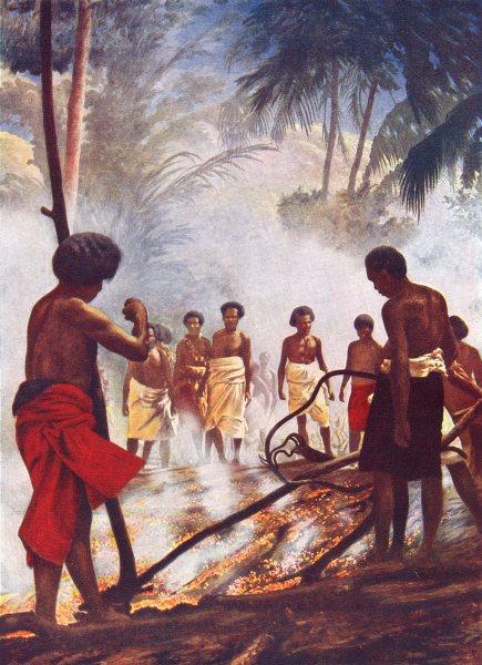 Associate Product FIJI. Fire-walking in Fiji; Island of Bequa 1900 old antique print picture