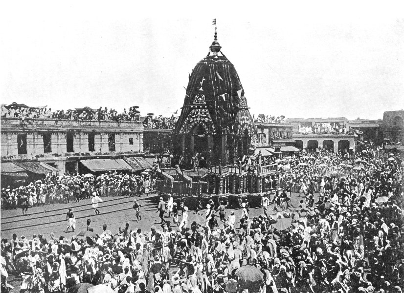 INDIA. Religious Procession; Car of Jagganath, Vishnu; Puri 1900 old print