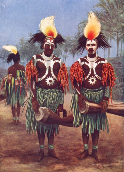 Associate Product MELANESIA. Melanesia. Dancers of the Fly River region;  1900 old antique print