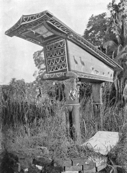 Associate Product MELANESIA. Melanesia. Mortuary shrine;  1900 old antique vintage print picture