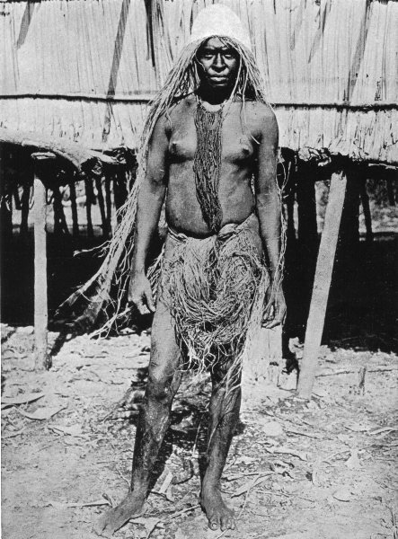 Associate Product MELANESIA. Melanesia. Widow in Half-Mourning costume;  1900 old antique print