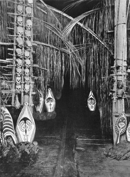 Associate Product MELANESIA. Melanesia. Interior of Dubu, Toripi;  1900 old antique print