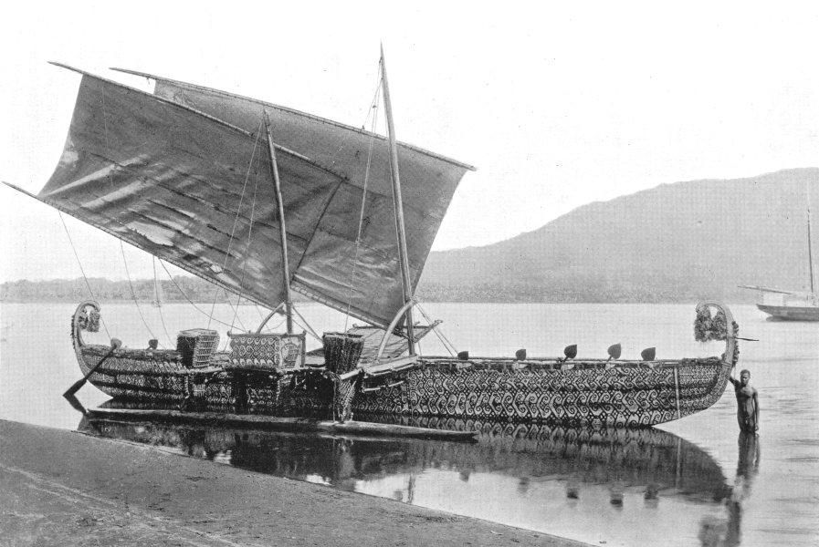 Associate Product MELANESIA. Melanesia. A Long-voyage sailing boat; Hermit islands 1900 print