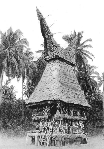 Associate Product MELANESIA. Melanesia. The Mask-house of a secret society;  1900 old print