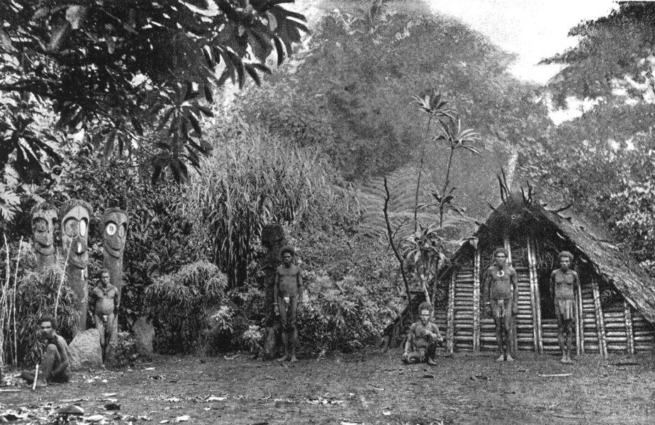 MELANESIA. Melanesia. Memorial images in the Solomon Islands;  1900 old print