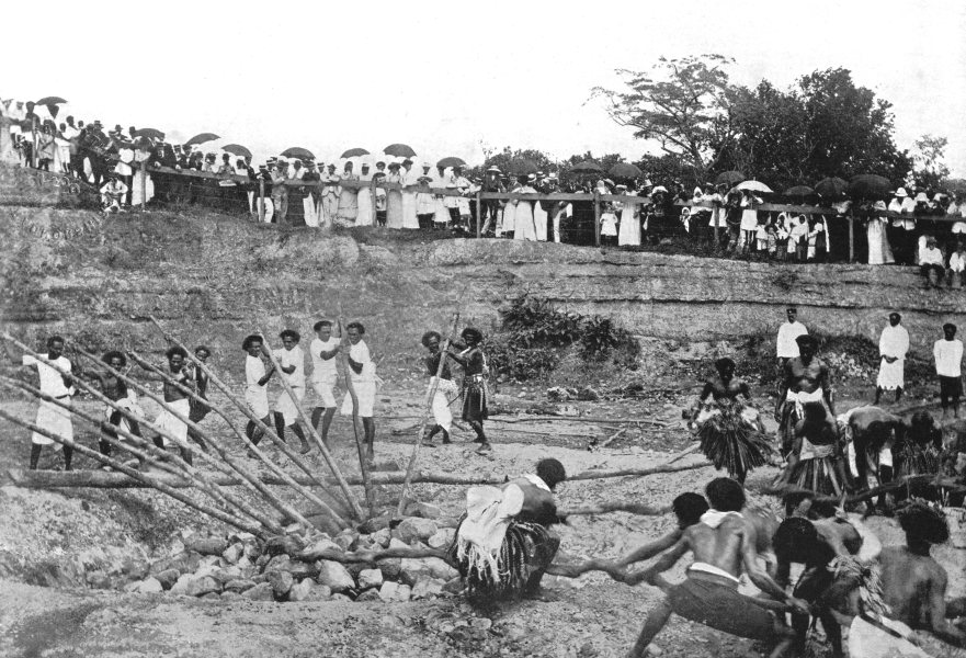 Associate Product FIJI. Fiji. Fire-walking ceremony at Beqa;  1900 old antique print picture