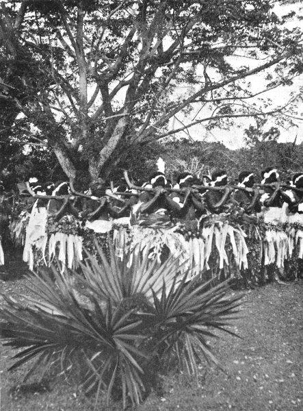 Associate Product FIJI. Fiji. A War-dance;  1900 old antique vintage print picture